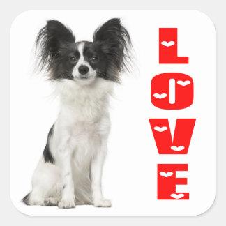 Papillon Black And White Puppy Dog - Love Puppies Square Sticker