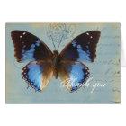 Papillon bleu, thank you, card