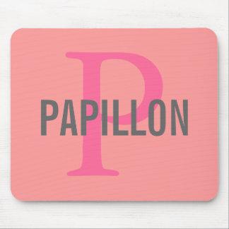 Papillon Breed Monogram Design Mousepads