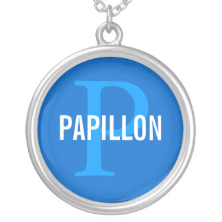 Papillon Breed Monogram Design Personalized Necklace