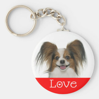 Papillon Brown and White Puppy Dog Basic Round Button Key Ring