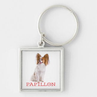 Papillon Brown and White Puppy Dog Red Love Key Ring