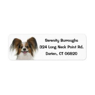Papillon Brown & White Puppy Dog Return Address Label