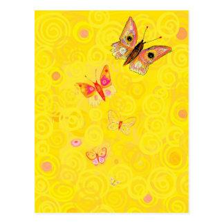 Papillon butterflies on yellow art nouveau postcard