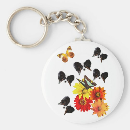 Papillon Butterfly Gifts Basic Round Button Key Ring