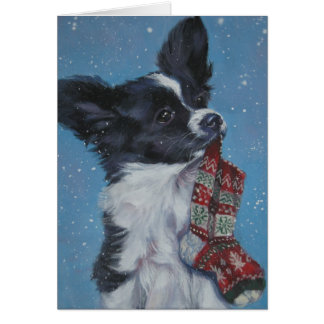 Papillon Christmas Card
