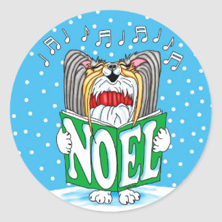 Papillon Christmas Caroler TRI Classic Round Sticker