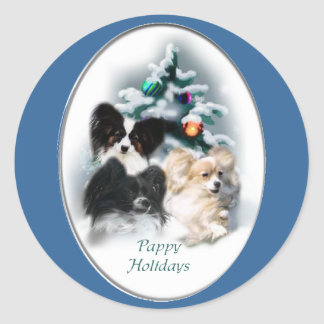 Papillon Christmas Gifts Round Sticker