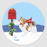 Papillon Christmas Mail Sable Gift Tags Round Stickers