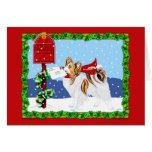 Papillon Christmas Mail Sable Greeting Card