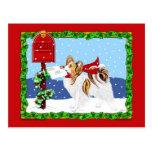 Papillon Christmas Mail Sable Postcard
