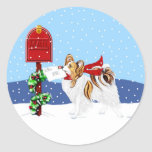 Papillon Christmas Mail Sable Stickers