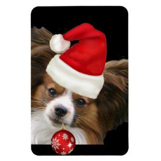 Papillon Christmas puppy Rectangular Photo Magnet