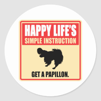 Papillon Classic Round Sticker