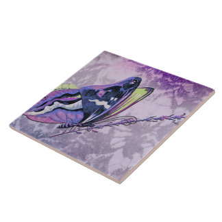 PAPILLON COLORÉ in LILAC, PURPLE and SPRING GREEN Large Square Tile