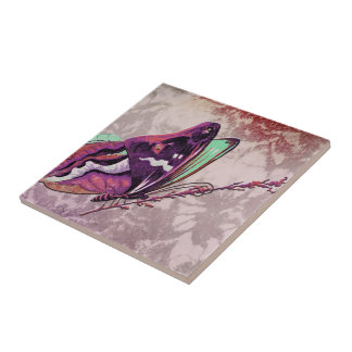 PAPILLON COLORÉ in MAUVE and MINT GREEN Small Square Tile