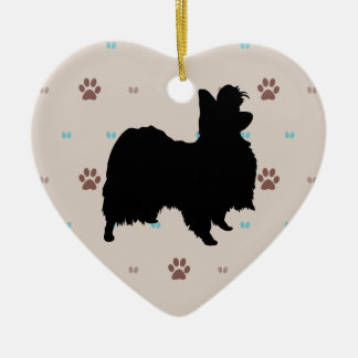 Papillon Double-Sided Heart Ceramic Christmas Ornament