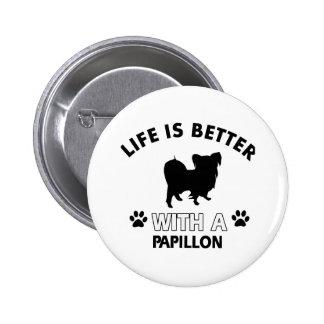 Papillon dog breed designs pinback button
