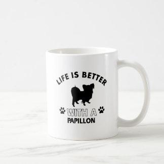 Papillon dog breed designs basic white mug