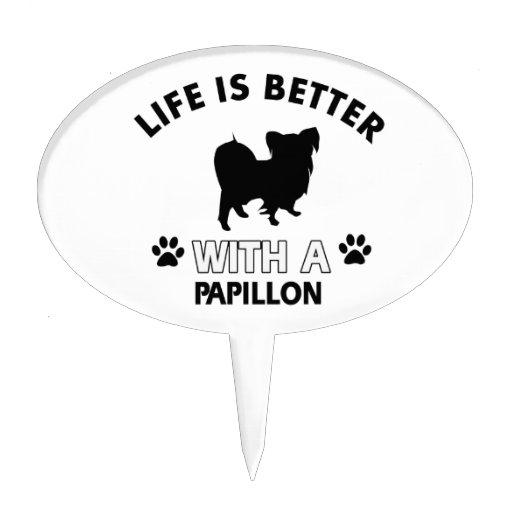 Papillon dog breed designs cake picks