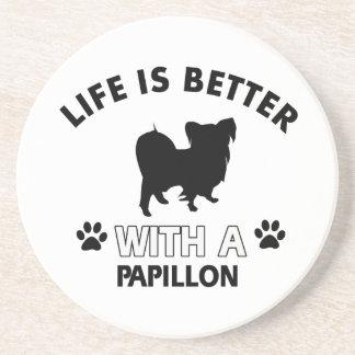 Papillon dog breed designs coaster