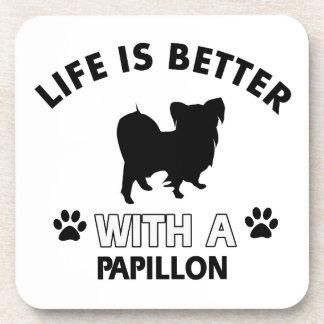 Papillon dog breed designs coasters