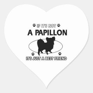 Papillon dog breed designs heart sticker