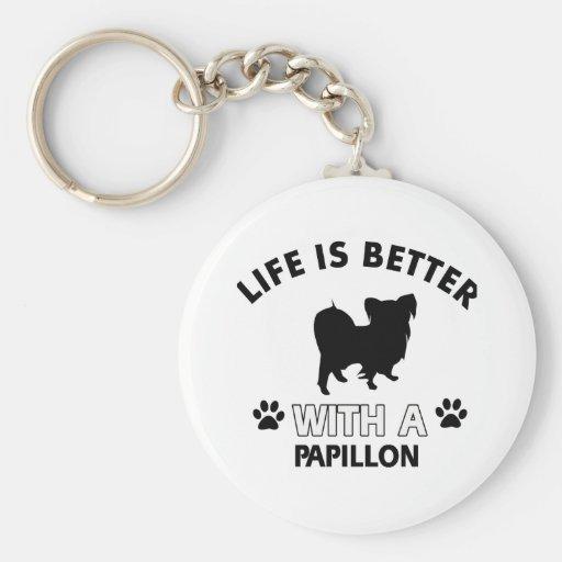 Papillon dog breed designs keychain