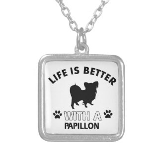 Papillon dog breed designs necklace