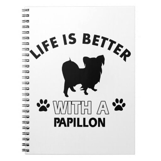 Papillon dog breed designs spiral note books