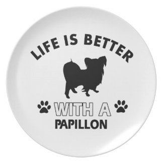 Papillon dog breed designs party plate