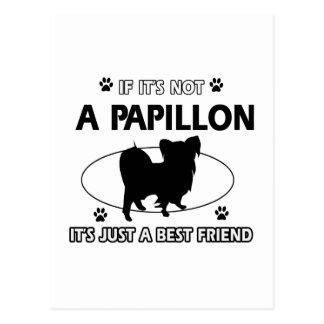 Papillon dog breed designs postcard