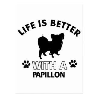 Papillon dog breed designs postcards