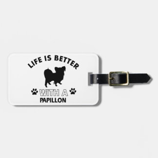 Papillon dog breed designs tags for luggage