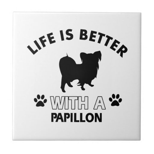 Papillon dog breed designs ceramic tile