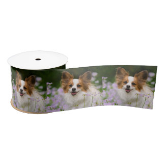 Papillon Dog Cute Romantic Portrait Animal Photo - Satin Ribbon