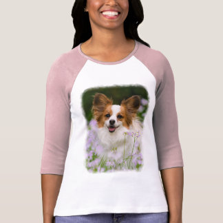 Papillon Dog Cute Romantic Portrait Photo Raglan T-Shirt