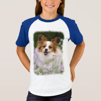 Papillon Dog Cute Romantic Portrait Photo Raglan - T-Shirt