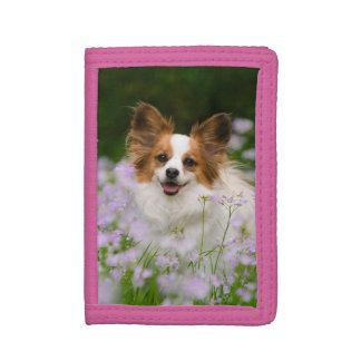 Papillon Dog Cute Romantic Portrait, Purse Tri-fold Wallet