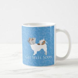 Papillon Dog Get Well Soon Design Basic White Mug