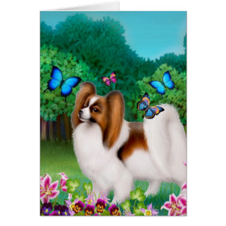 Papillon Dog in Garden Garden Card