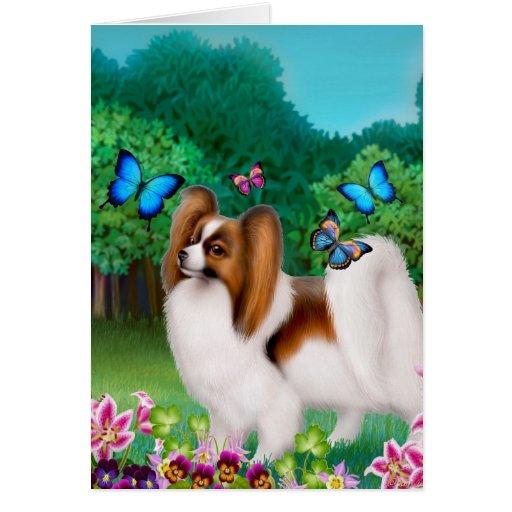 Papillon Dog in Garden Garden Cards