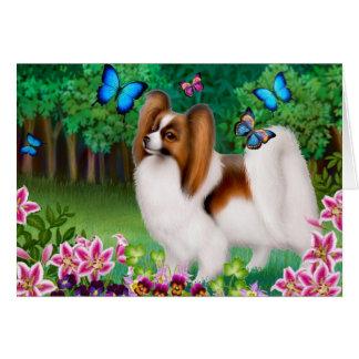 Papillon Dog in Garden Greeting Card