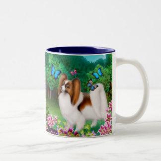 Papillon Dog in Garden Mug