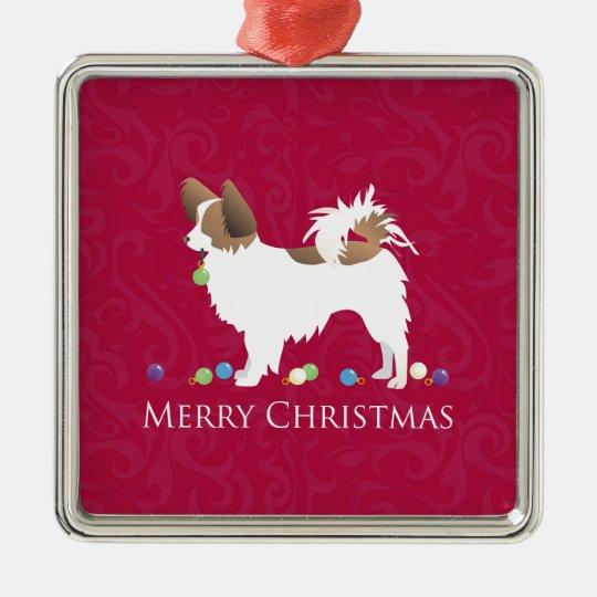 Papillon Dog Merry Christmas Design Christmas Ornament