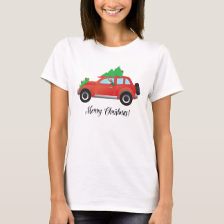 Papillon Dog or Chihuahua in Christmas Car T-Shirt