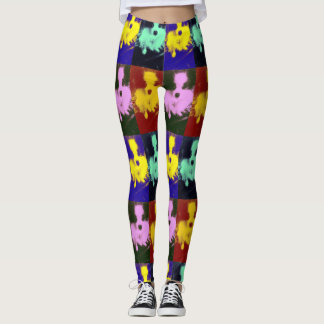 Papillon dog pop art designer leggings multi