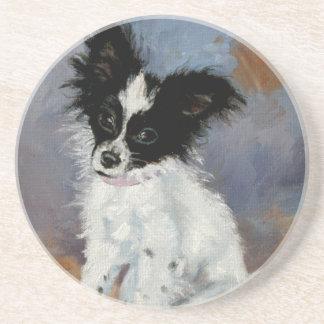 Papillon Dog Portrait Beverage Coaster