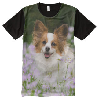 Papillon Dog Romantic Cute Portrait, Panel All-Over Print T-Shirt