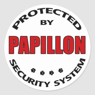 Papillon Dog Security Classic Round Sticker